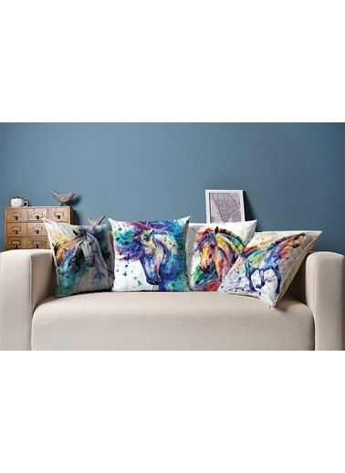 Tezkotekstil Suluboya At 4'Lü Kombin Dekoratif Yastık Kırlent Kılıfı Renkli